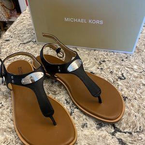 Michael Kors black and silver thong sandal NWT